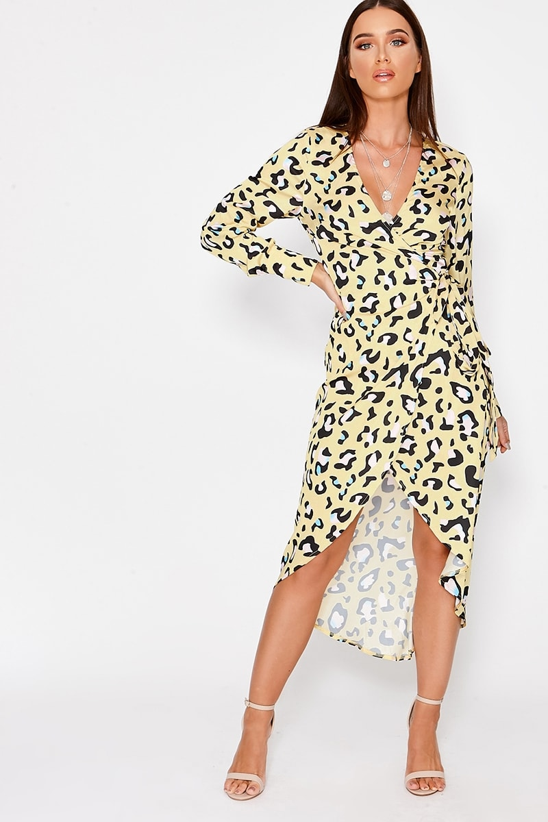 ccb6e8296d28 Disa Yellow Leopard Print Satin Waterfall Dress | In The Style