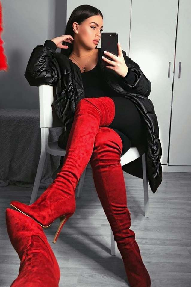 Red Faux Suede Over The Knee Heeled