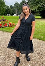 Tall Jac Jossa Nude Polka Dot Print Midaxi Tiered Dress