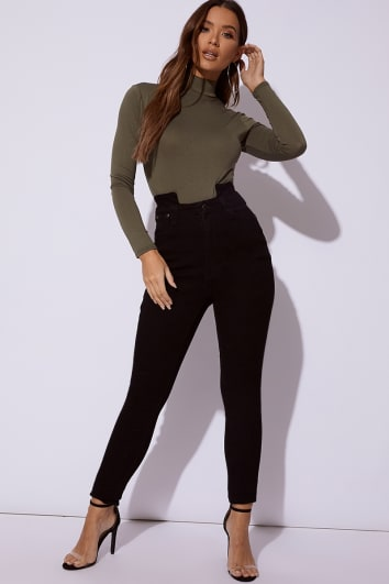 ZANEY BLACK DENIM CUT OUT WAIST SKINNY JEANS