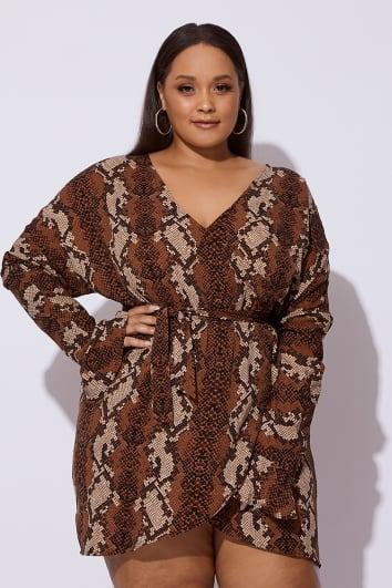 CURVE DANI DYER BROWN SNAKE PRINT FRILL WRAP DRESS