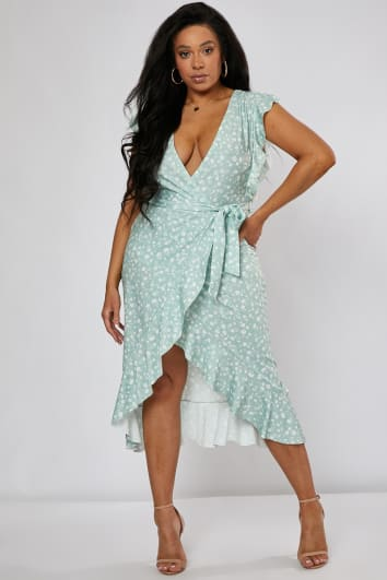 7b211676417 CURVE BILLIE FAIERS SAGE GREEN DITSY FLORAL FRILL WRAP FRONT MIDI DRESS