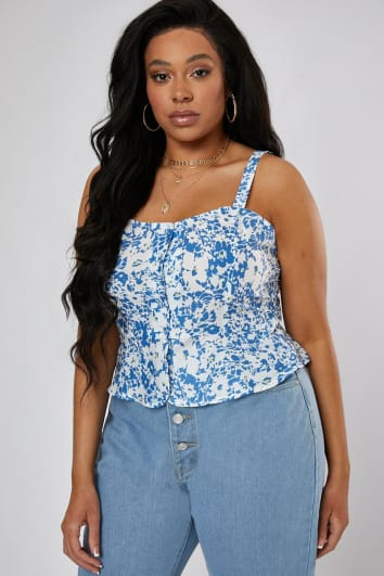 CURVE LAURA JADE BLUE FLORAL BUTTON THROUGH PEP HEM TOP