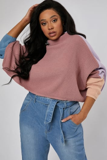 CURVE KATREENA COLOUR BLOCK HIGH NECK JUMPER