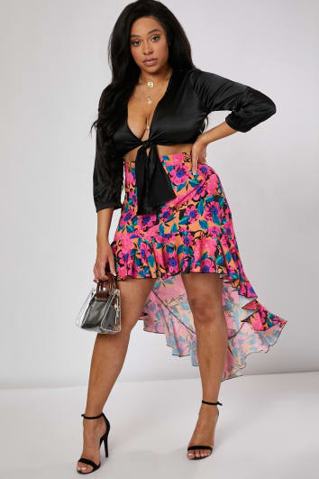 CURVE KEREESHA ORANGE TROPICAL FLORAL PRINT EXTREME DIP HEM SKIRT