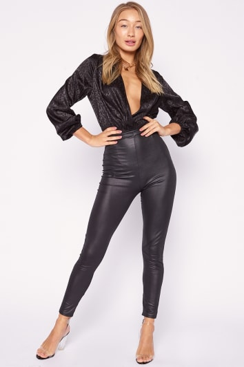 OAKLEE BLACK FAUX LEATHER LEGGINGS