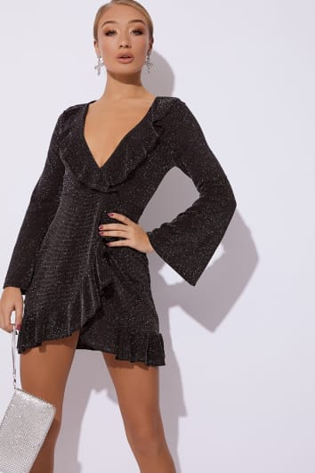 AILAN SILVER GLITTER WRAP FRONT FRILL DRESS