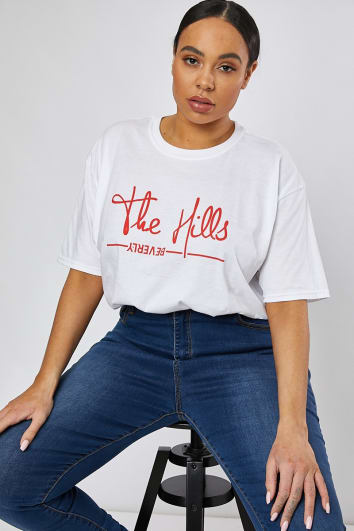 CURVE WHITE THE HILLS SLOGAN T SHIRT