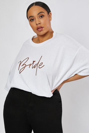 CURVE BRIDE ROSE GOLD WHITE T SHIRT