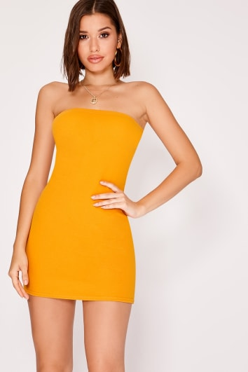 KENDRIA MUSTARD CREPE BANDEAU MINI DRESS