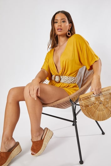 DOROTHY MUSTARD JERSEY PLUNGE WRAP PLAYSUIT