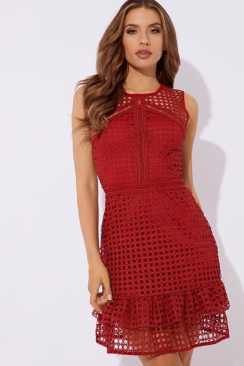 FLORENCIO RED CROCHET LACE SKATER DRESS