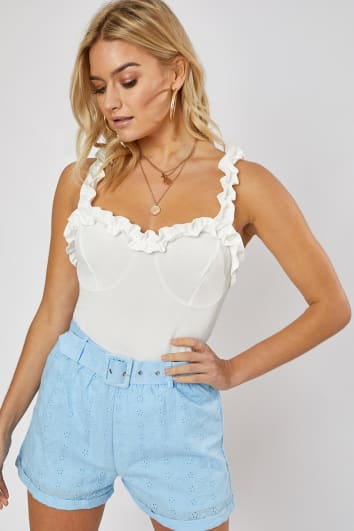 CLEMENTINA BLUE BRODERIE ANGLAISE BELTED SHORTS