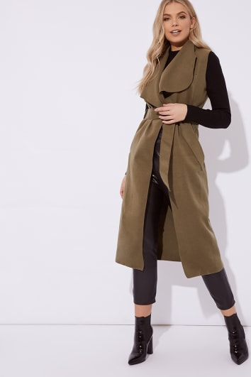 OLAYA KHAKI SLEEVELESS WATERFALL JACKET