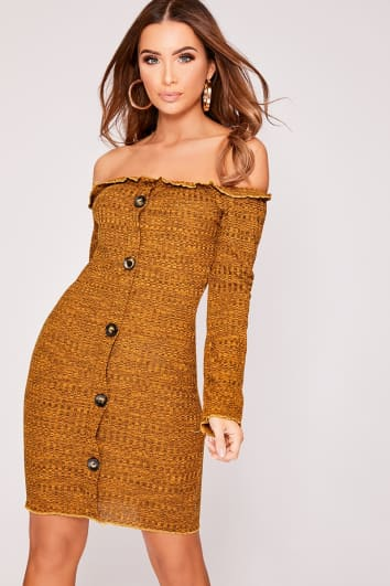 DALISSA MUSTARD BARDOT HORN BUTTON DRESS