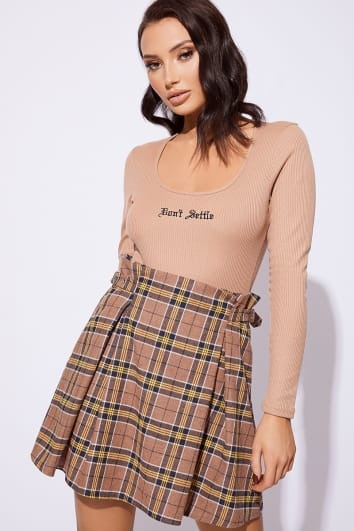 CC CLARKE BROWN CHECKED PLEATED MINI SKIRT