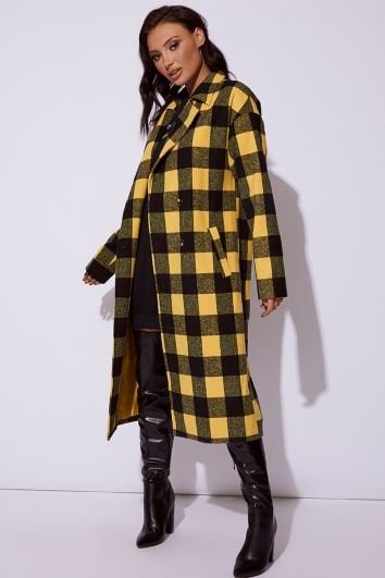 CC CLARKE YELLOW CHECKED OVERSIZED COAT