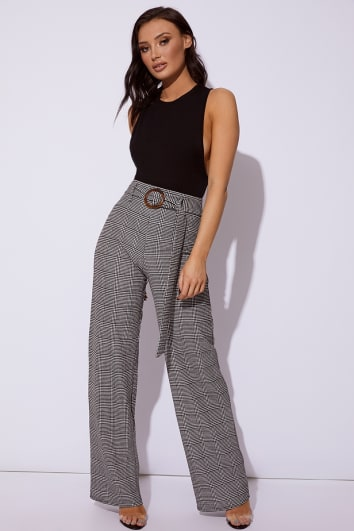 KADENZA BLACK HOUNDSTOOTH WIDE LEG TROUSERS
