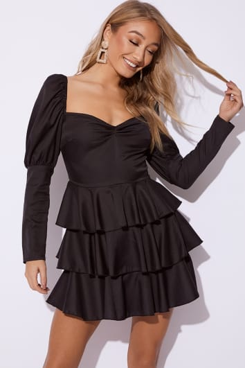 EMILY SHAK BLACK PUFF SLEEVE TIERED MINI DRESS