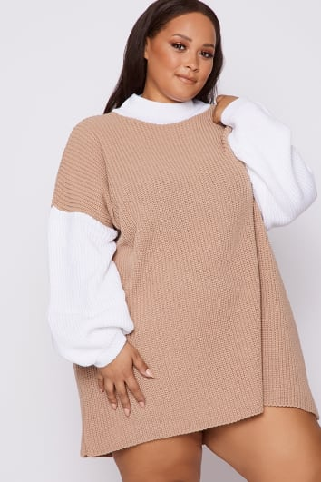 CURVE DANI DYER STONE AND WHITE COLOUR BLOCK JUMPER DRESS
