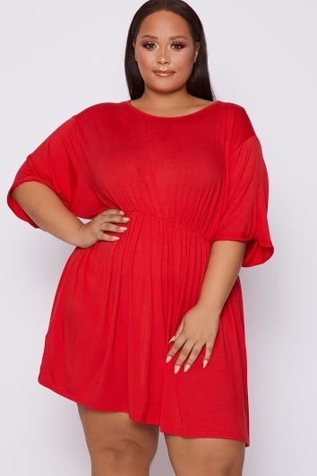 CURVE DANI DYER RED OVERSIZED SMOCK DRESS