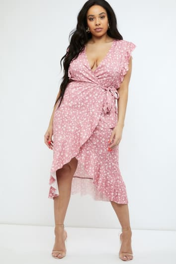 CURVE BILLIE FAIERS PINK DITSY FLORAL FRILL WRAP MIDI DRESS