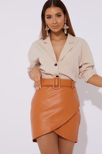 LYNDAH ORANGE BELTED FAUX LEATHER SKIRT
