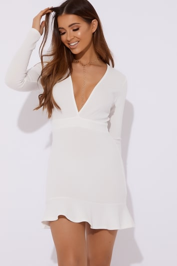 ALVI WHITE PLUNGE LONG SLEEVE FRILL HEM DRESS