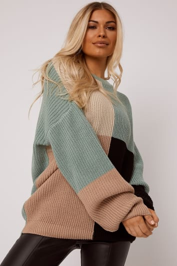 SARAH ASHCROFT GREEN MULTI COLOUR BLOCK OVERSIZED KNITTED JUMPER