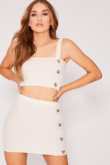 KANZLEE STONE RIBBED HORN BUTTON MINI SKIRT