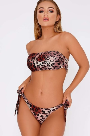 BILLIE FAIERS LEOPARD PRINT TIE SIDE BIKINI BOTTOMS