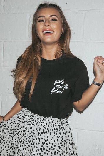 DANI DYER GIRLS ARE THE FUTURE BLACK SLOGAN TEE