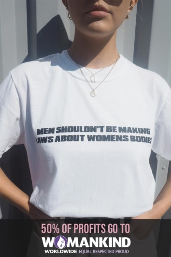 MEN SHOULDN'T BE MAKING LAWS WHITE T SHIRT