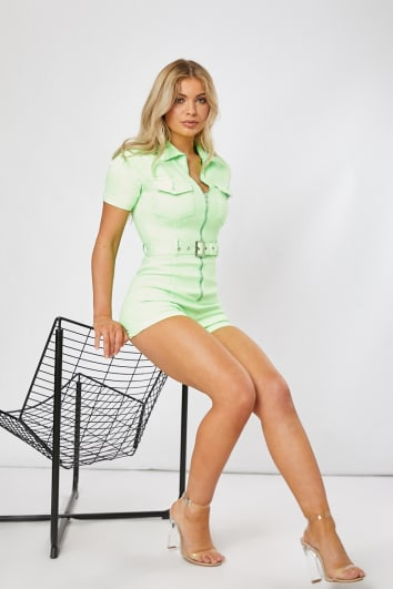 FENNAH LIME DENIM ZIP FRONT BELTED PLAYSUIT