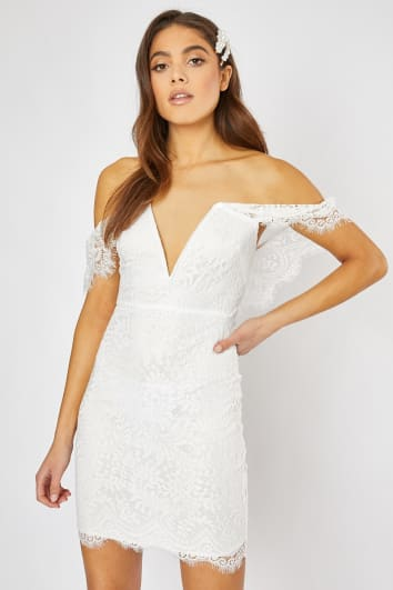 EDNA WHITE LACE BARDOT BODYCON DRESS