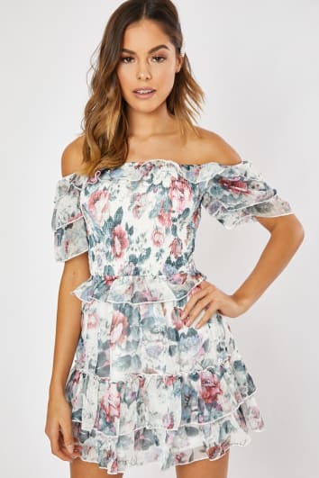 WALLIS WHITE FLORAL FRILL TIERED SHIRRED BODICE BARDOT DRESS