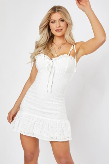 DIJAH WHITE BRODERIE ANGLAISE LACE TIE FRONT MINI DRESS
