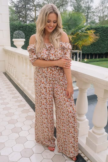 EMILY ATACK WHITE FLORAL BARDOT PUFF SLEEVE WIDE LEG JUMPSUIT