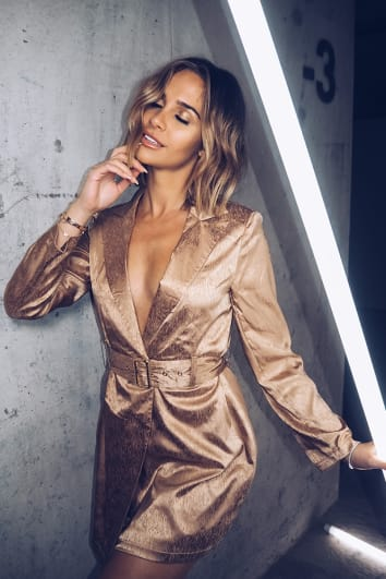 EMILY SHAK GOLD SATIN BELTED BLAZER DRESS