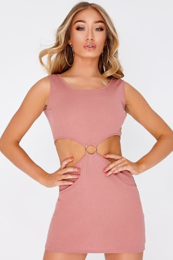 CADEY ROSE PINK RING DETAIL KEY HOLE MINI DRESS