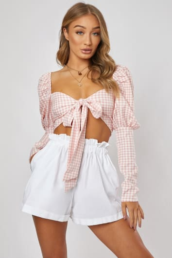 JONAH PINK GINGHAM PRINT PUFF SLEEVE TIE FRONT TOP