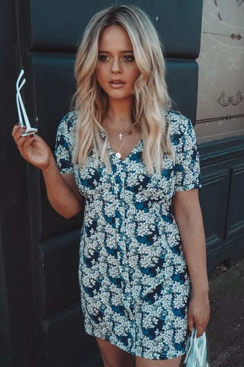 EMILY ATACK NAVY FLORAL PRINT V NECK SHIFT DRESS