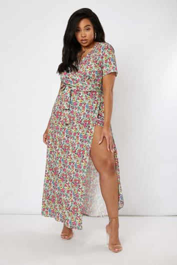 CURVE EMILY ATACK WHITE FLORAL PRINT WRAP MAXI DRESS