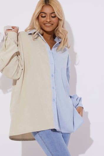SHAUNA BLUE TWO TONE CORD SHIRT