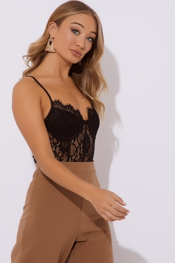 LARGO BLACK CAMI LACE BODYSUIT