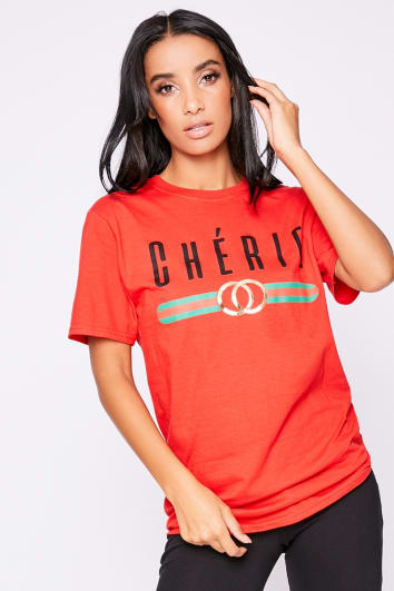 CHERIE RED SLOGAN BOYFRIEND T SHIRT