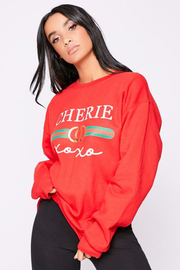 CHERIE XOXO RED SLOGAN SWEATSHIRT