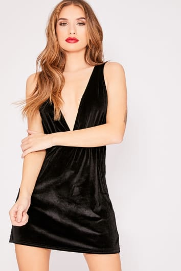 ESMI BLACK VELVET PLUNGE MINI DRESS