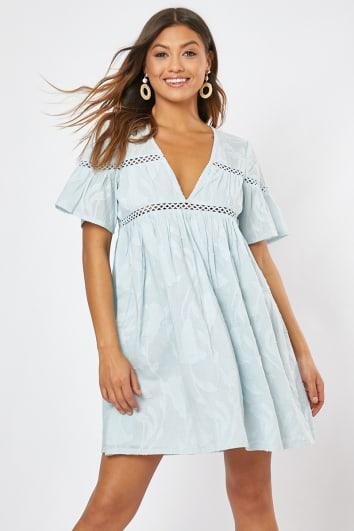 SADIAH BLUE SMOCK MINI DRESS