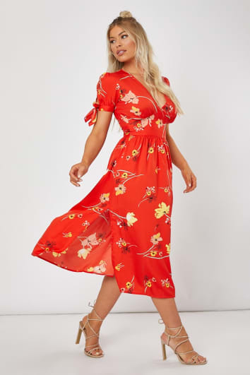 ADABELLA RED FLORAL TIE SLEEVE MIDI DRESS
